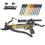 Crossbow Self-Cocking 80 LBS by KingsArchery® with Hunting Scope, Spare Crossbow String and Caps, 3 Aluminium Arrow Bolts, and Bonus 12-pack of Colored PVC Arrow Bolts + KingsArchery® Warranty For Sale