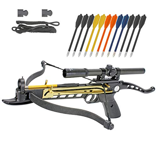 Crossbow Self-Cocking 80 LBS by KingsArchery® with Hunting Scope, Spare Crossbow String and Caps, 3 Aluminium Arrow Bolts, and Bonus 12-pack of Colored PVC Arrow Bolts + KingsArchery® Warranty