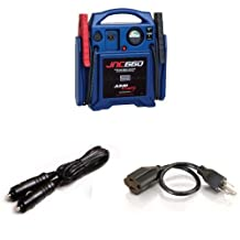 Clore Automotive JNC660 Jump-N-Carry 1700 Peak Amp 12-volt Jump Starter + Clore Automotive Solar ESA1 12V Male to Male Outlet Charger Cord + C2G/Cables to Go 53410 25-Feet Outlet Saver 18 AWG Power Extension Cord, Black Bundle