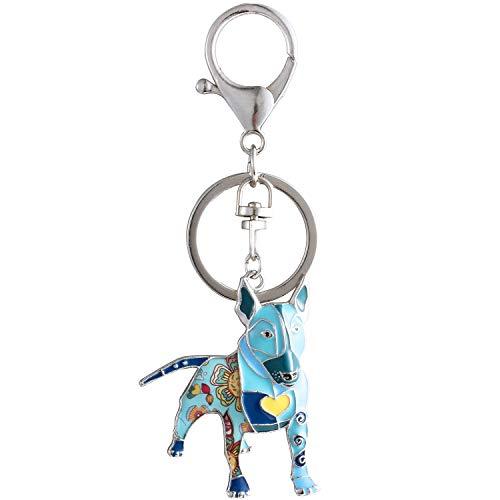(Luckeyui Unique Bull Terrier Keychain Gift for Women Blue Enamel Dog Charm Keyring)