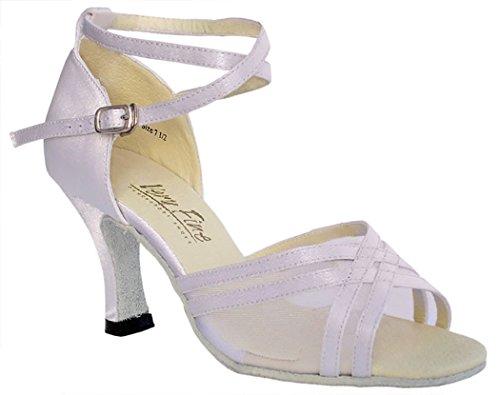 Chaussures Très Fines 5017 Latin, Rythm & Salsa Chaussures De Bal 3 Satin Blanc