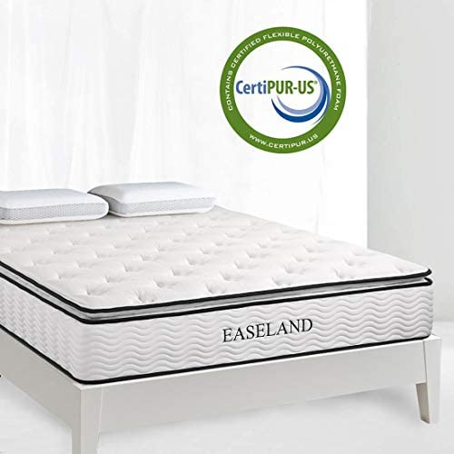 EASELAND Twin Mattress – Skin-Friendly Bamboo Pillow Top and Innerspring Hybrid 12 Mattress in a Box – Individually Encased Pocket Coils with CertiPUR-US Foam for Supportive Pressure Relief