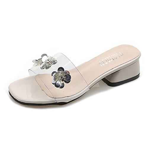 GIY Womens Chunky Heel Mule Peep Toe Block Heel Slide Sandal Open Toe Heel Sandal Trendy Slipper Shoe by GIY