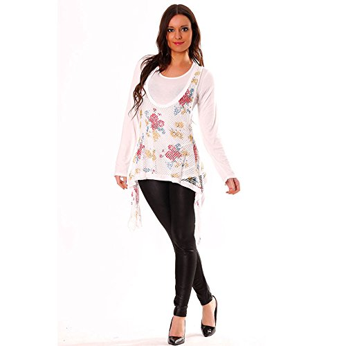 Miss Wear Line - Tunique en blanchabit pour femme, dessous blanc manches longues
