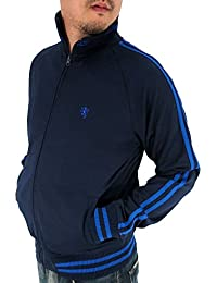 Men's 2 Lines Track Jacket Jersey Full Zip Up Top Wear