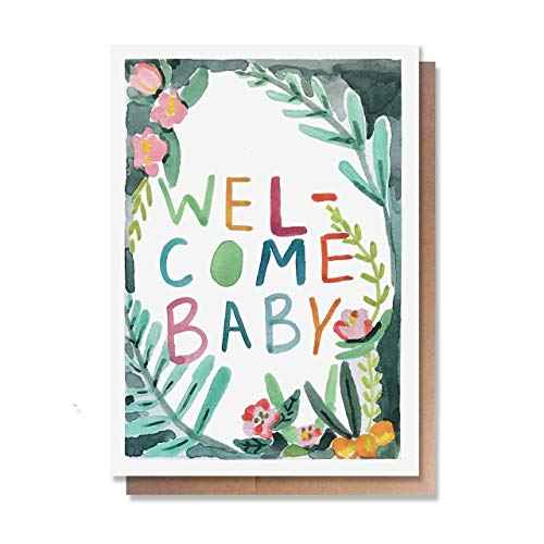 Cute New-Born Baby Boy or Girl Card by Wunderkid - Welcome Baby (Kraft Envelope, Blank inside) (Congrats Message For New Born Baby Boy)