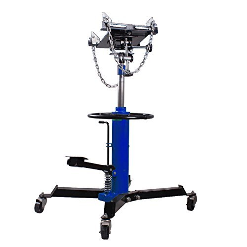 Iglobalbuy 2 Stage 1100lb Adjustable Height Hydraulic Telescoping Transmission Jack with Pedal 360° Swivel Wheel Lift Hoist ()