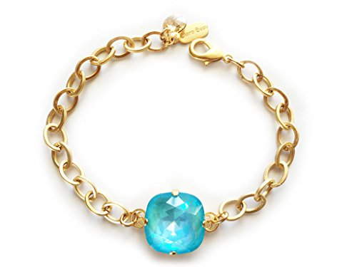 Clara Beau Exquisite 18mm Swarovski crystal Bracelet BY70 GoldTone - UltraTurq -
