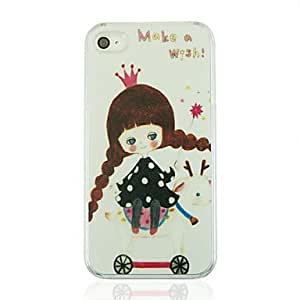 QJM Little Girl Leather Vein Pattern PC Hard Case for iPhone 4/4S