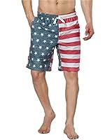 ALove Mens USA American Flag Board Shorts Elastic Waist Swim Trunks With Pocket