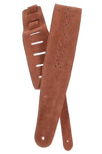 Planet Waves Vented Leather Guitar Strap, Camel Suede Rosette