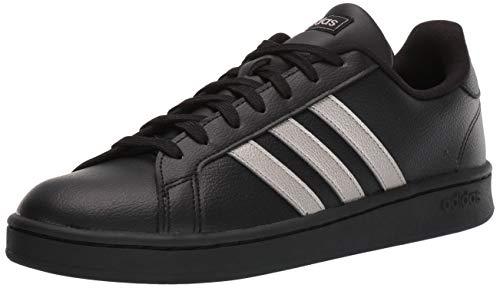 adidas Women's Grand Court Sneaker, Platinum Metallic/Black, 6 M US