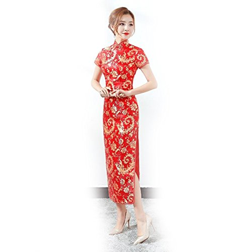 Amazon.com: Ladies Mandarin Collar Elegant Vestidos Red Chines Cheongsam: Clothing