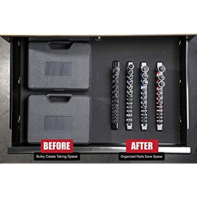 ARES 70108-12-Piece Metric Hex Bit Socket Set - Chrome Vanadium Sockets with S2 Alloy Bits - Includes Aluminum Socket Organizer