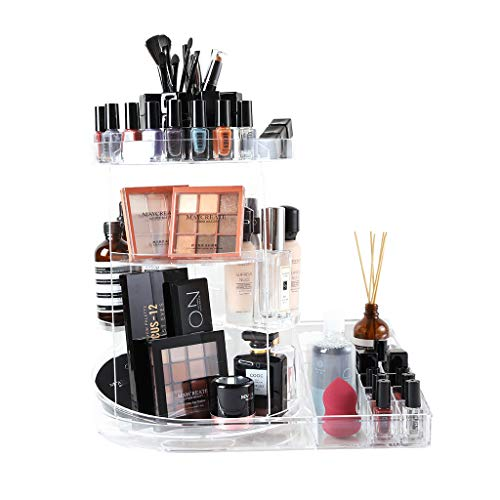 SUNFICON Rotating Makeup Holder Large Cosmetic Organizer Carousel Spinning Holder Storage Rack Display Stand Case Caddy Shelf Beauty Skincare Items Toiletries Bathroom Vanity Countertop Gfit,Clear