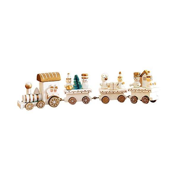 Pequeño tren de Navidad, Holacha Decoraciones de navidad Hecho de maderas para Niños Jardín de infancia Festivo (Blanco) 41Co9BOh7TL