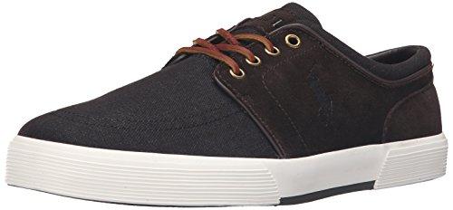 Polo Ralph Lauren Men's Faxon Low Sport Suede Fashion Sneaker, Dark Denim/Dark Brown, 9 D US