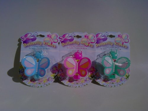 Butterfly Kisses Lotta Luv Scented Lip Balm 3 Pack Set - Flavors: Strawberry, Blueberry, Sweet Berry