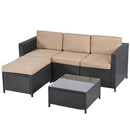 BestMassage Outdoor Patio Furniture Set, 5pcs Rattan Wicker Sofa Garden Conversation Set Cushioned with Coffee Table for Yard
