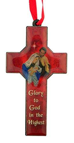 (Catholic Brands Glory to God in The Highest 4 Inch Wood Nativity Cross Christmas Tree Ornament)