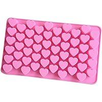 ღ Ninasill ღ 55 Mini Heart Silicone Chocolates Shape Baking Pan Ice Cube Chocolate Sweets Truffles (Pink)