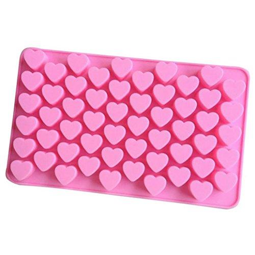 (ღ Ninasill ღ 55 Mini Heart Silicone Chocolates Shape Baking Pan Ice Cube Chocolate Sweets Truffles (Pink))