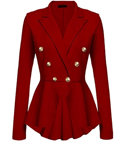 Coolred-Women Double-Breasted High-Low Hem Lapel Plus-Size Suit Jacket Red - Breasted Suit Double Skirt