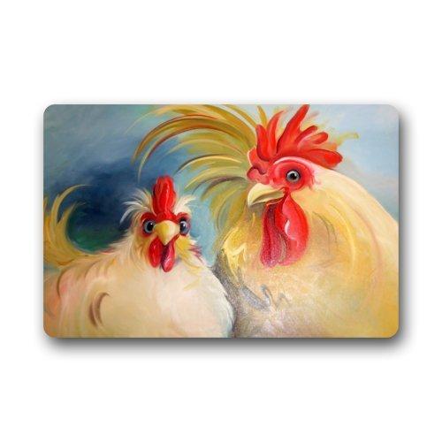 """Funny Hen Rooster Couple Chicken Art Doormats Entrance Mat Floor Mat Door Mat Rug Indoor/Outdoor/Front Door/Bathroom Mats Rubber Non Slip (23.6""""x15.7"""",L x W)"""