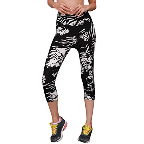 - JOFOW Women's Leggings, Cropped Trousers Striped Mix Flowers Zebra Print Skinny Mid Waist Workout Jogger Yoga Pant for Women (S,Black)