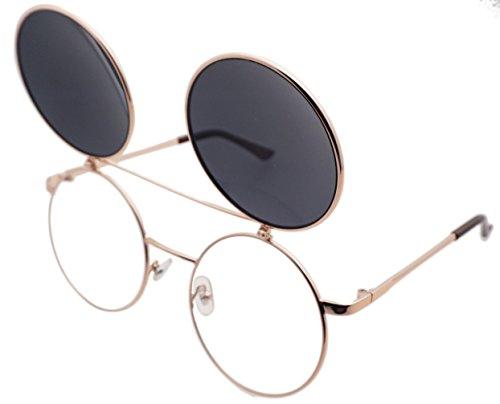 J&L Glasses Retro Flip-Up Round Goggles Seampunk Sunglasses (Golden,Black, - Glasses Up Retro Flip
