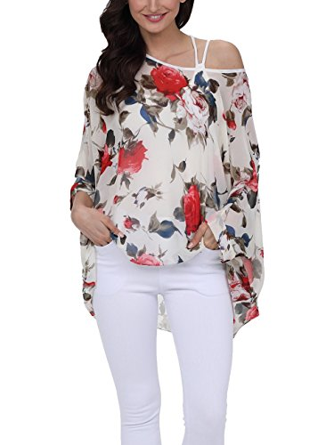 Vanbuy Women Summer Floral Printed Batwing Sleeve Top Chiffon Poncho Casual Loose Blouse Z91-4289 ()