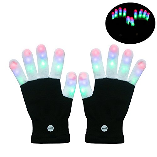Sungwoo LED Gloves Finger Light Flash Gloves with Colorful 6 Lighting Modes Adult Size for Christmas Party Disco Dancing (a (Christmas Party Ideas For Teens)