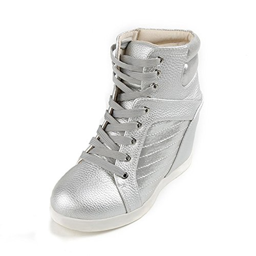 Btrada Wedge Fashion Sneaker with High Heel Waterproof Lace Up Casual Walking Shoes for Women