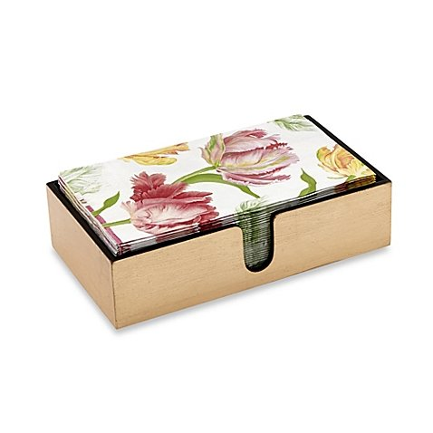 Caspari Tulip Dance 30-Count 3-Ply Paper Guest Towels with Lacquer Holder
