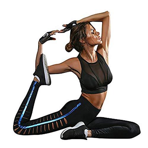 AILIUJUNBING Women's Cut Out Yoga Pants-Black Sports Stripe