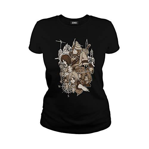 Zoko Apparel Women's Heroes are Back Final Fantasy IX T-Shirt (L, Black)
