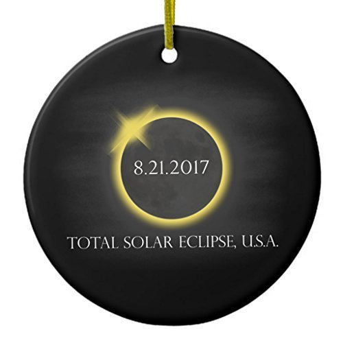 Novelty Christmas Tree Decor Total Solar Eclipse August 21 2017usa Souvenir Ceramic Ornament Circle Round Christmas Decorations Ornament Crafts - 3 inch by Louis