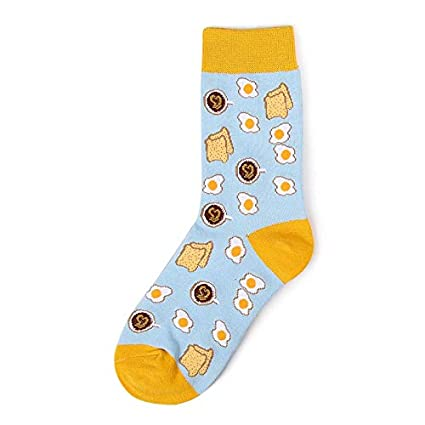 Gold Happy Sweet Food Avocado Fruit/Egg/Ice Cream Harajuku Socks Art Abstract Oil