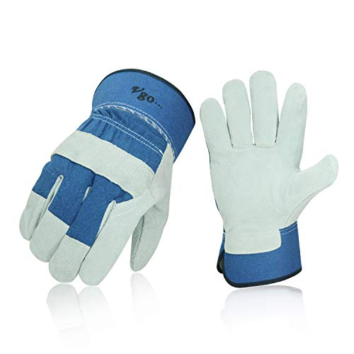 - Vgo 3Pairs 32℉ or above Winter Lined Cowhide Split Leather Work and Driver Gloves, For Heavy Duty, Truck Driving, Warehouse, Gardening, Farm (Size L,Blue,CB3501F)