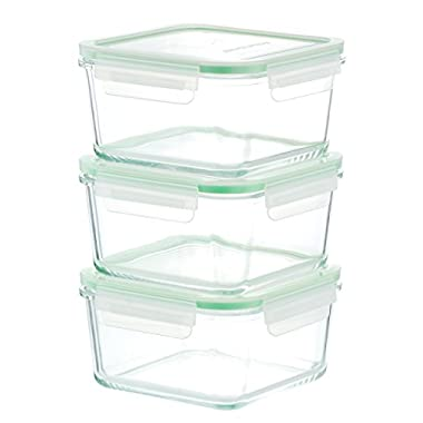 Kinetic GoGREEN Glassworks Series 6 Piece Square Oven Safe Glass Food Storage Container Set 35-Ounce Each (3 Containers and 3 Lids) 01331