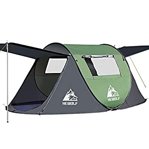 HEWOLF Automatic Pop-Up Tents 2-4 Person Waterproof Camping Tent Instant Portable Cabana Beach Tent UV Protection Sun…