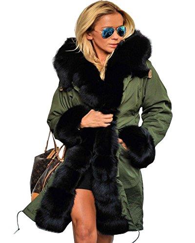 Aofur Womens Hooded Faux Fur Lined Warm Coats Parkas Anoraks Outwear Winter Long Jackets (XXX-Large, Green_Black Fur)