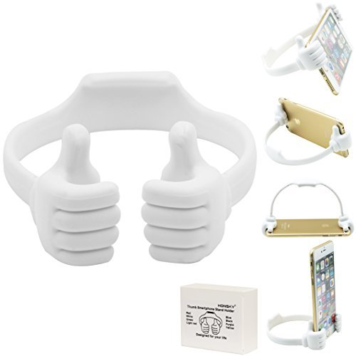 Honsky Cute Fun Thumbs-up Adjustable Universal Cell Phone Holder Tablet Stand Desk Desktop Cradle for iPad Mini iPhone 7 6 Plus 6s LG Stylo Samsung Galaxy S8 S7 Edge S6 Switch ZTE HTC Motorola,White