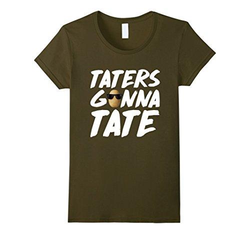 Womens Taters Gonna Tate Funny Potato Shirt Medium Olive (Tate Olive)
