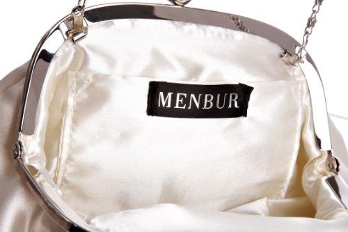 MENBUR Flor 823490004 - Bolso de fiesta de tela para mujer Beige
