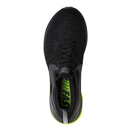 Nike Donne Zoom Tutti Fuori Flyknit Scarpe Da Corsa Nero Volt Nero 001