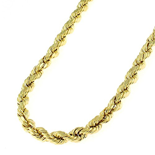 (Authentic 14K Solid Yellow Gold 4mm Diamond-Cut Rope Braided Twist Link Heavy-Duty Necklace Chain 18