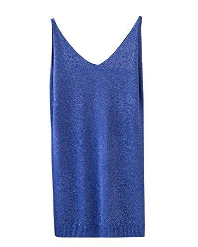 Maglieria collo Blu Sottile Top Donna Bottoming Gilet Unita Camicia Fionda V Tinta nYO5xa1qP