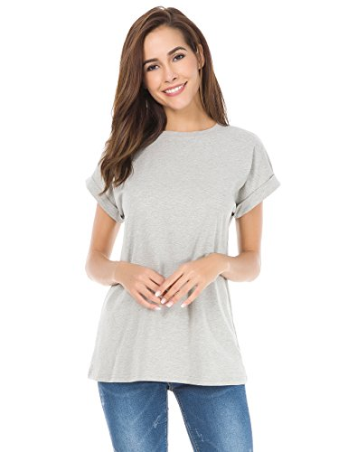 MSHING Women's Simple Crew Neck Plain Loose T-Shirt Summer Casual Tops, Gray, (Women High Quality T-shirt)