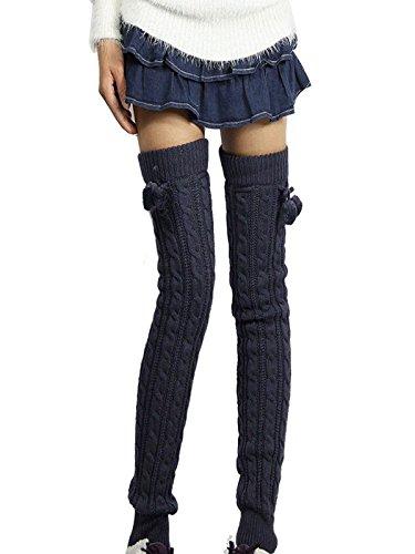 altas gruesas Medias Gris Winter Girls Sweet Rodilla Calor en piernas oscuro Knit Jelinda oscuro vzwP0w